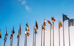 Flags of the European Union.